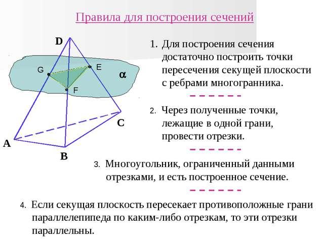  E F G А B C D Правила для построения сечений Для построения сечения достато...