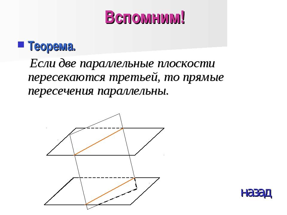 Вспомним! Теорема. Если две параллельные плоскости пересекаются третьей, то п...
