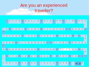 Are you an experienced traveller? V O Y A G E N G L I S H O T E L O N G U I D