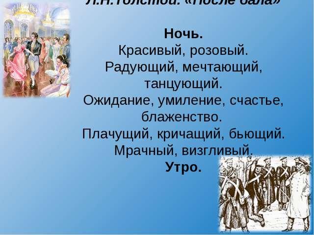 Л.Н.Толстой. «После бала» Ночь. Красивый, розовый. Радующий, мечтающий, танцу...