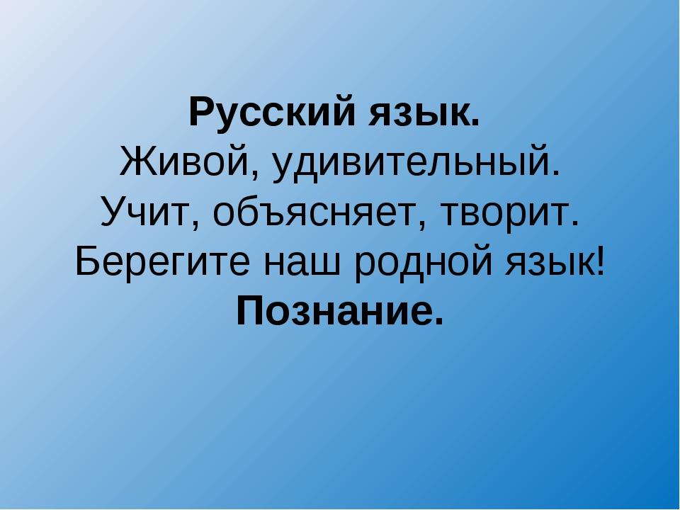 Русский язык. Живой, удивительный. Учит, объясняет, творит. Берегите наш родн...