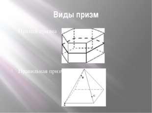 Виды призм Прямая призма Правильная призма