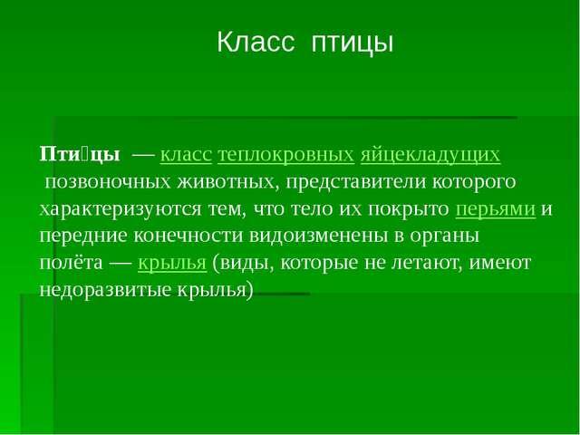 Класс птицы Пти́цы—класстеплокровныхяйцекладущихпозвоночных животных, п...