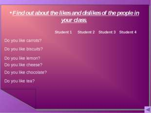 Find out about the likes and dislikes of the people in your class. 	Student 1