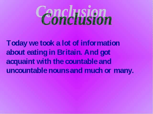 Today we took a lot of information about eating in Britain. And got acquaint...