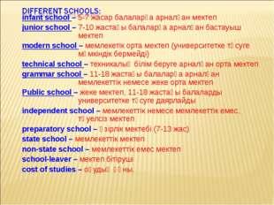 infant school – 5-7 жасар балаларға арналған мектеп junior school – 7-10 жаст