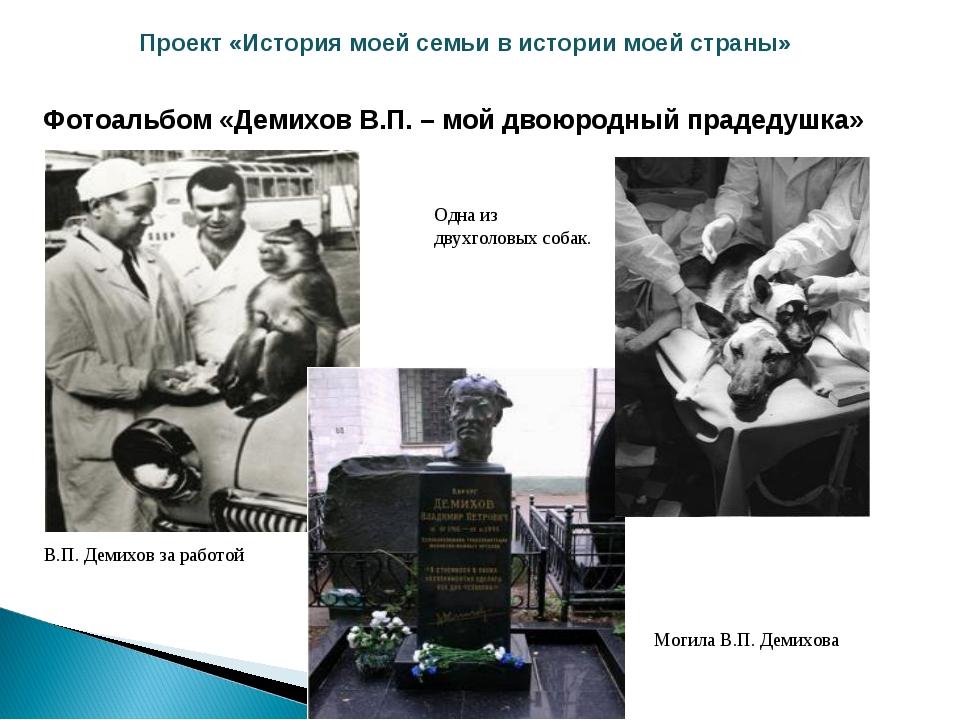 Проект «История моей семьи в истории моей страны» Фотоальбом «Демихов В.П. –...