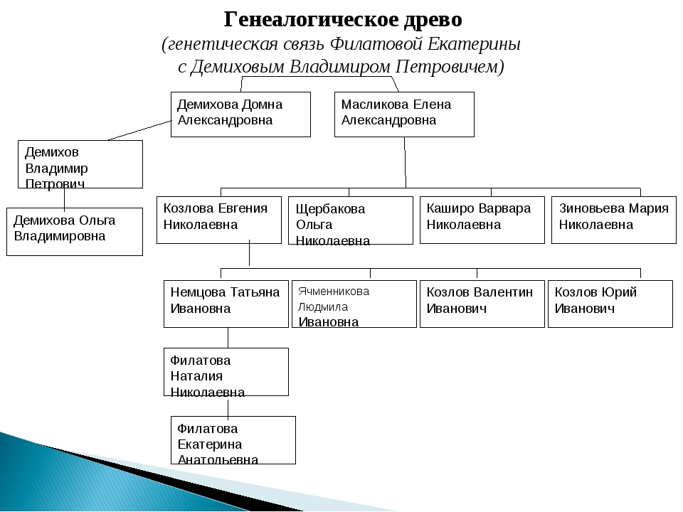 Генеалогическое древо (генетическая связь Филатовой Екатерины с Демиховым Вла...