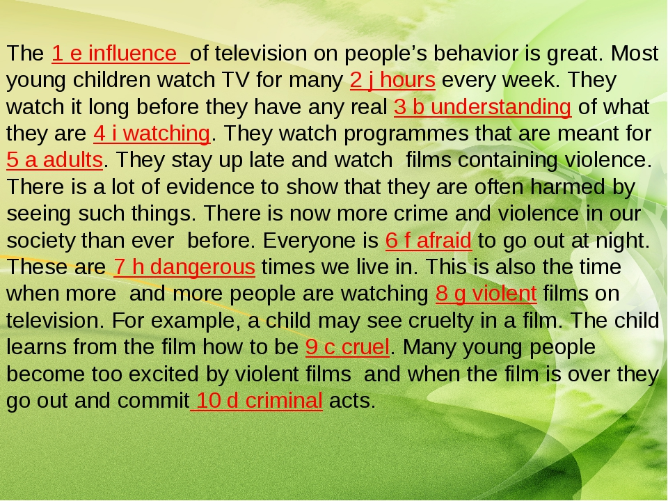 the violence in television and its influence on children Much discussion exists as to the level of violence on tv programs and its effect on children's behavior this article reviews the literature, discusses social issues, and presents some interventions available to nursing professionals to assist children and families in coping with the impact of tv on children's lives.