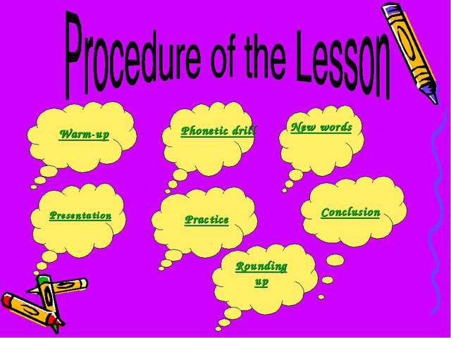 Warm-up Presentation Practice New words Phonetic drill Conclusion Rounding up