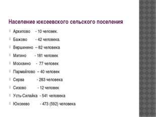 Население юксеевского сельского поселения Архипово - 10 человек. Бажово - 42