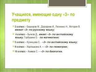 Учащиеся, имеющие одну «3» по предмету 2 а класс – Башкиров М., Дорофеев И.,