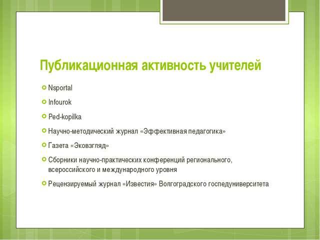 Публикационная активность учителей Nsportal Infourok Ped-kopilka Научно-метод...