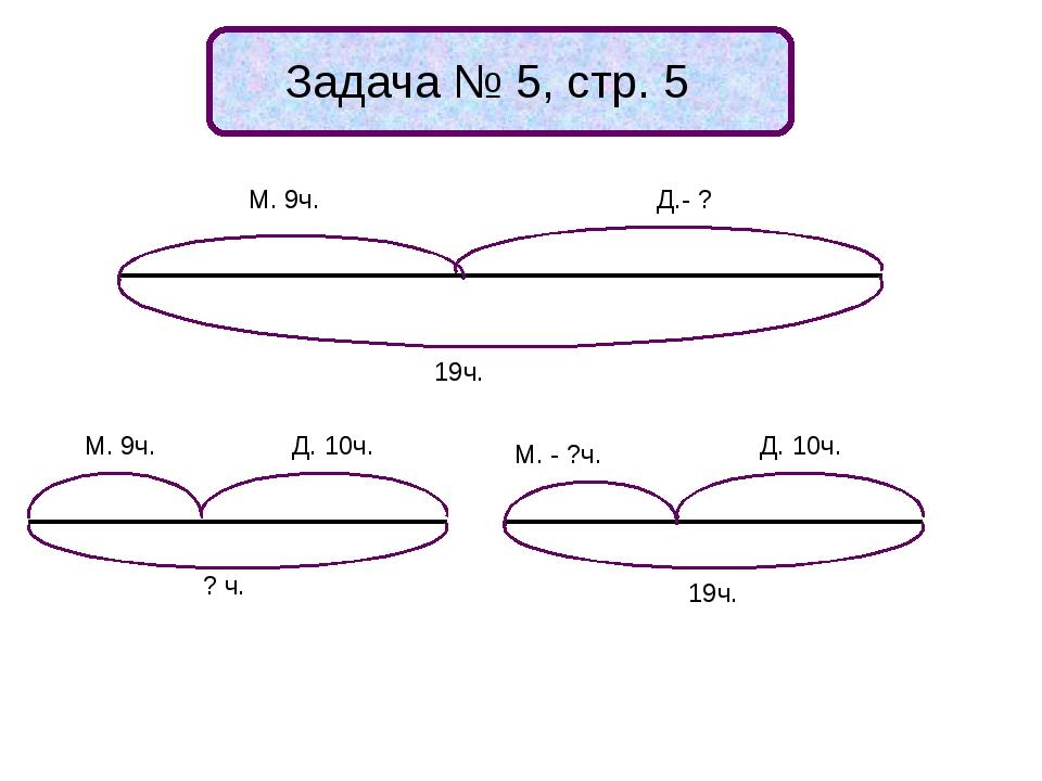 Задача № 5, стр. 5 М. 9ч. Д. 10ч. 19ч. Д.- ? М. 9ч. ? ч. М. - ?ч. Д. 10ч. 19ч.