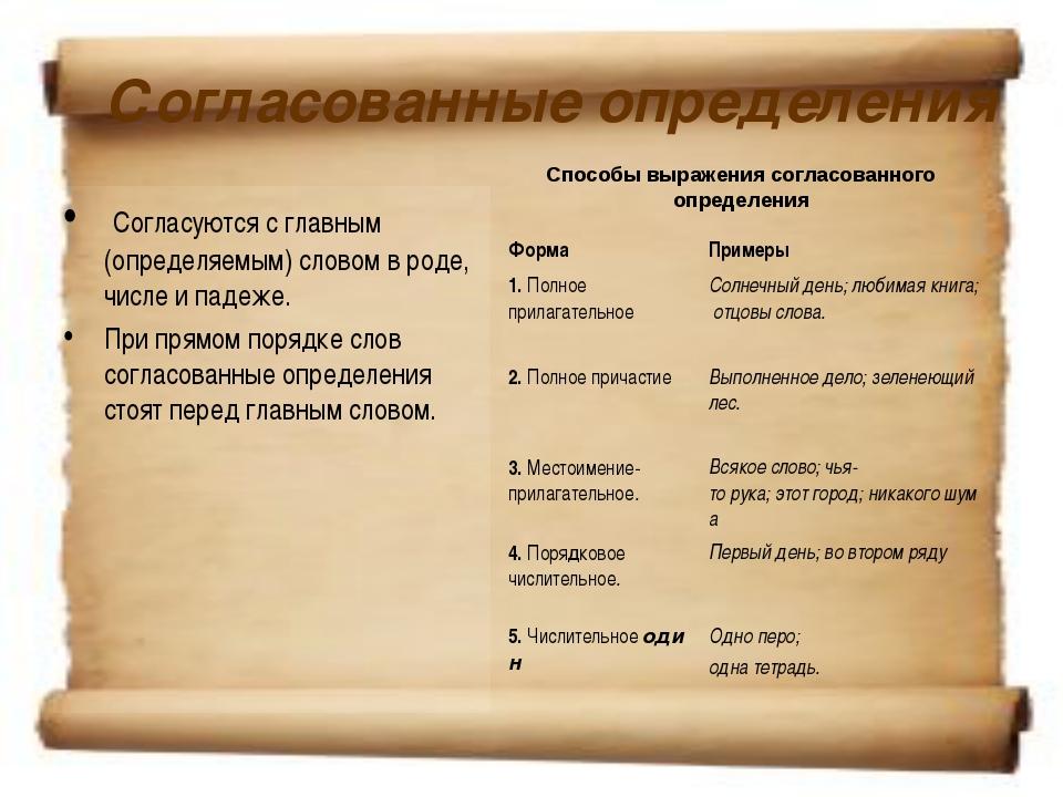Согласованные определения Согласуются с главным (определяемым) словом в роде...
