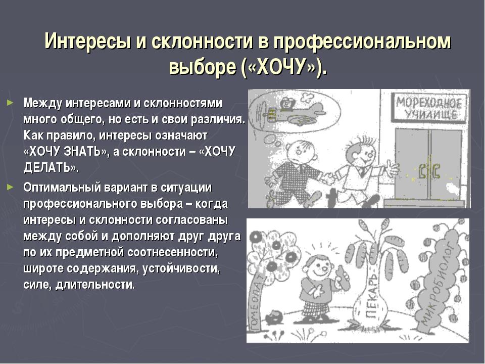 Интересы и склонности в профессиональном выборе («ХОЧУ»). Между интересами и...