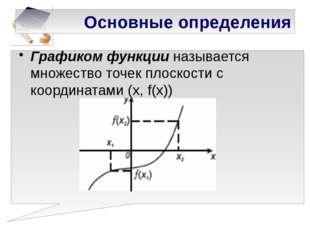 Основные определения Графиком функции называется множество точек плоскости с
