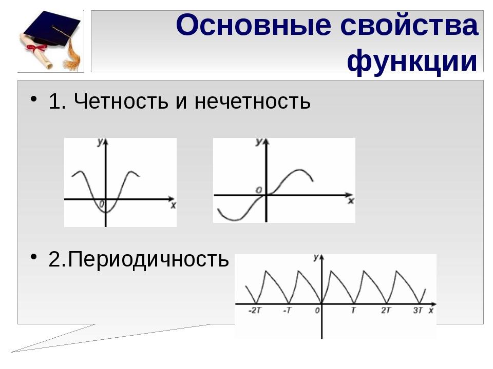 Основные свойства функции 1. Четность и нечетность 2.Периодичность