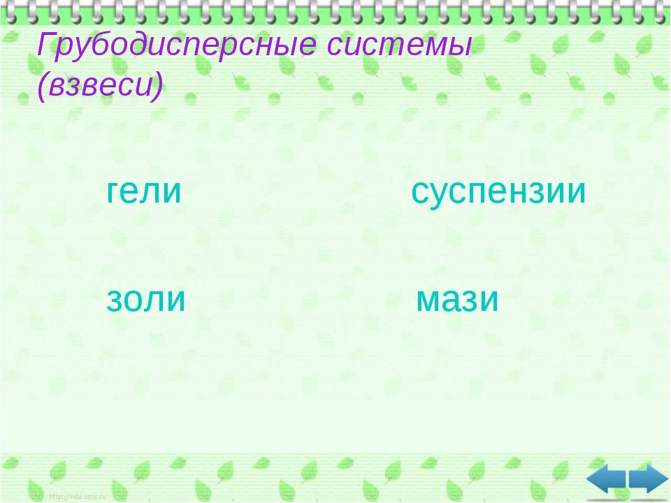 Грубодисперсные системы (взвеси) гели суспензии золи мази