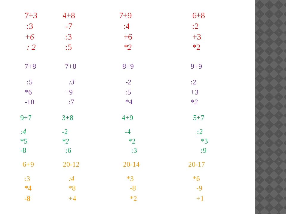 7+3 4+8 7+9 6+8 :3 -7 :4 :2 +6 :3 +6 +3 : 2 :5 *2 *2 7+8 7+8 8+9 9+9 :5 :3 -2...
