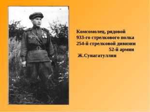 Комсомолец, рядовой 933-го стрелкового полка 254-й стрелковой дивизии 52-й ар