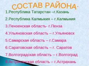 1.Республика Татарстан –г.Казань Республика Калмыкия – г.Калмыкия Пензенская