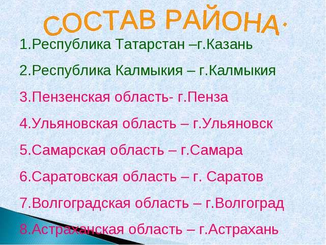 1.Республика Татарстан –г.Казань Республика Калмыкия – г.Калмыкия Пензенская...