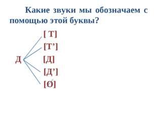 Какие звуки мы обозначаем с помощью этой буквы? [ Т]  [Т'] Д [Д]  [Д']