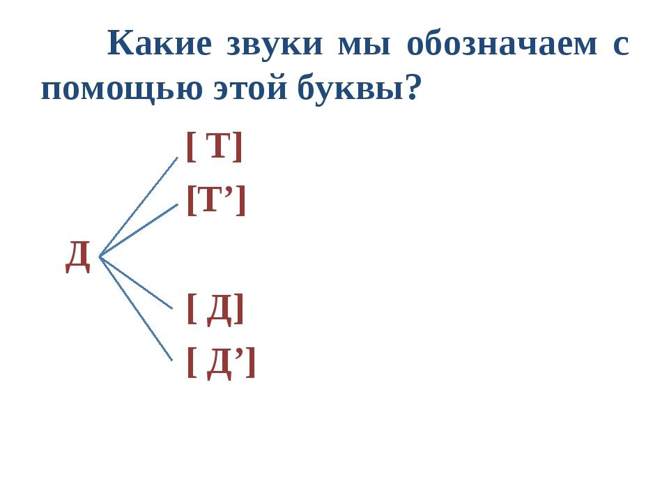 Какие звуки мы обозначаем с помощью этой буквы? [ Т]  [Т'] Д  [ Д]  [ Д']