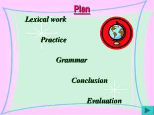Plan Lexical work Practice Grammar Conclusion Evaluation