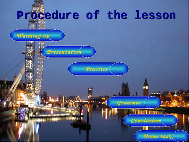 Procedure of the lesson Warming up Presentation Grammar Practice Conclusion H...