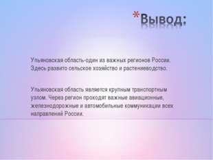 Ульяновская область-один из важных регионов России. Здесь развито сельское хо