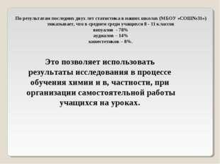 По результатам последних двух лет статистика в наших школах (МБОУ «СОШ№31») п