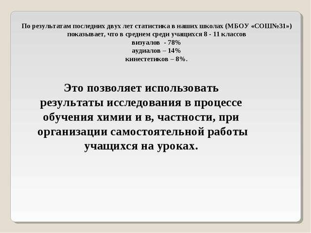 По результатам последних двух лет статистика в наших школах (МБОУ «СОШ№31») п...