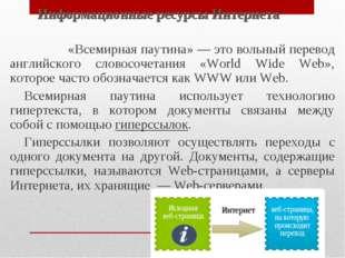 Информационные ресурсы Интернета «Всемирная паутина» — это вольный перевод ан