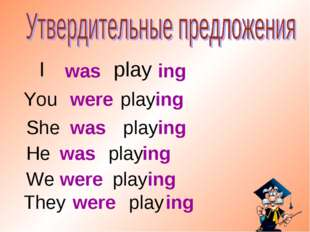 I play was ing You play were ing She play was ing He play They play We play w