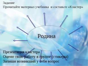 Задание Прочитайте материал учебника и составьте «Кластер» Родина Презентация