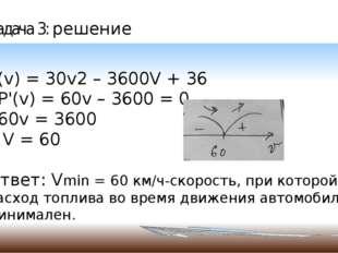 Задача 3: решение P(v) = 30v2 – 3600V + 36 P'(v) = 60v – 3600 = 0 60v = 3600