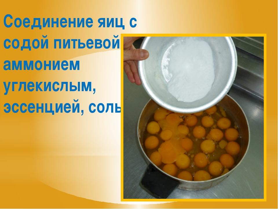 Соединение яиц с содой питьевой, аммонием углекислым, эссенцией, солью