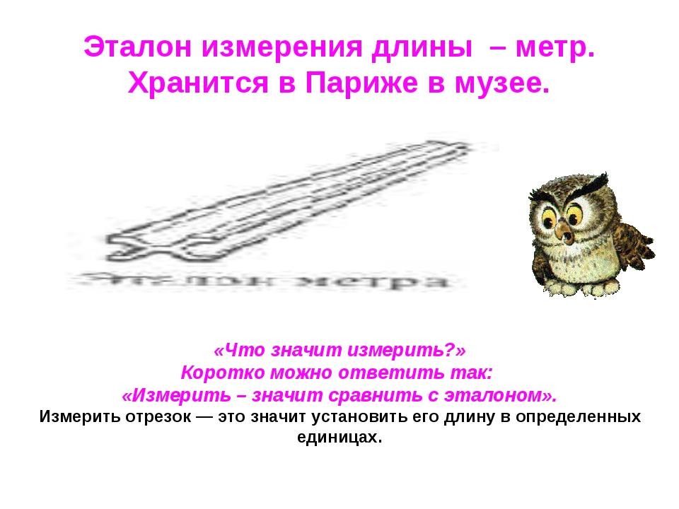 Эталон измерения длины – метр. Хранится в Париже в музее. «Что значит измерит...