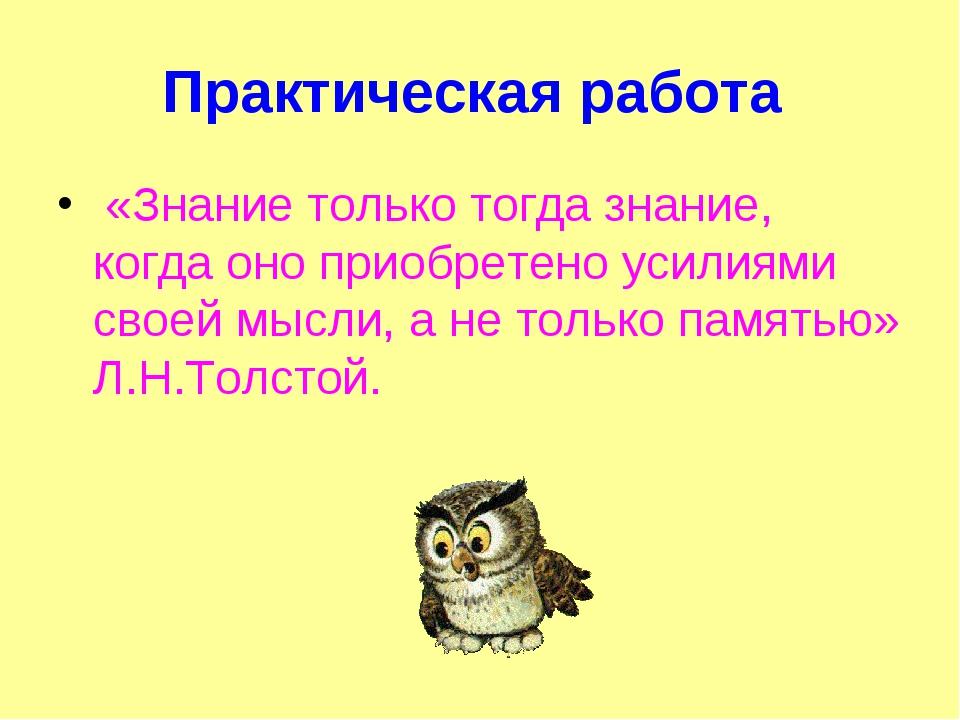 Практическая работа «Знание только тогда знание, когда оно приобретено усилия...