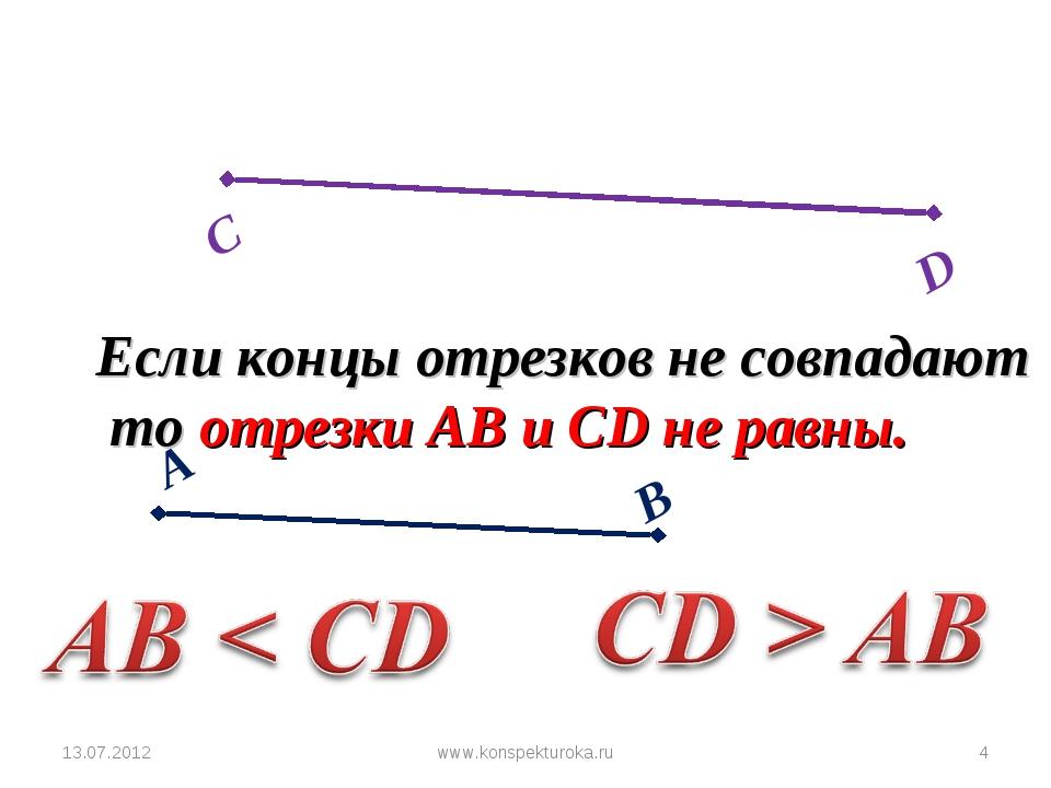 13.07.2012 * Если концы отрезков не совпадают то отрезки АВ и СD не равны. ww...