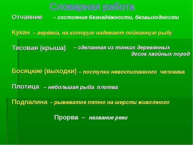 Отчаяние Кукан Тесовая (крыша) Босяцкие (выходки) Плотица  Подпалина – состо...