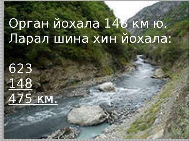Орган йохала 148 км ю. Ларал шина хин йохала: 623 148 475 км.