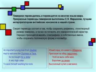 Лимерики переводились и переводятся на многие языки мира. Прекрасные переводы