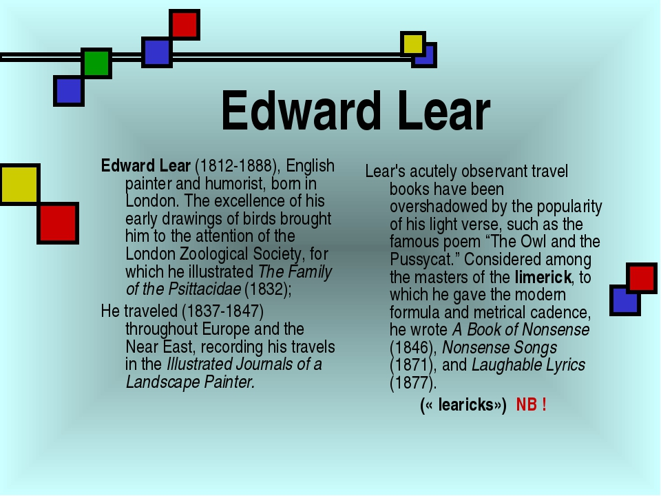 Edward Lear Edward Lear (1812-1888), English painter and humorist, born in Lo...