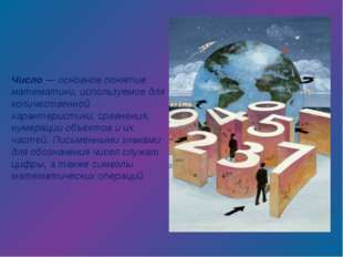 Число — основное понятие математики, используемое для количественной характер
