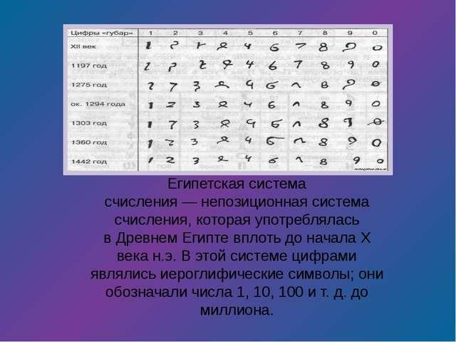 Египетская система счисления—непозиционная система счисления, которая употр...