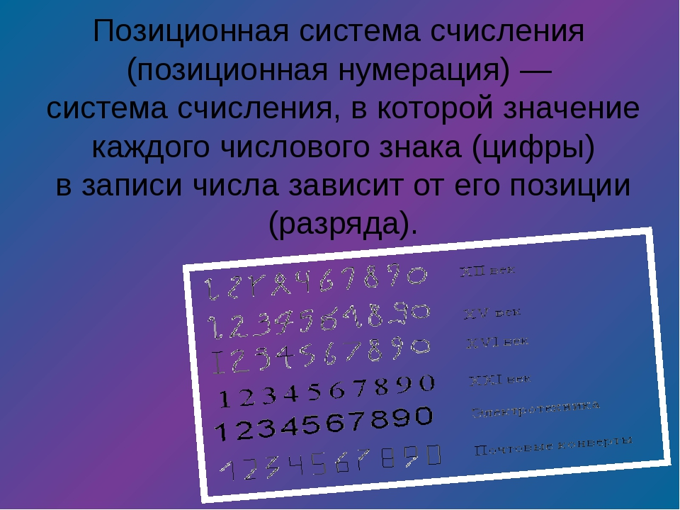 Позиционная система счисления (позиционная нумерация)— система счисления,...