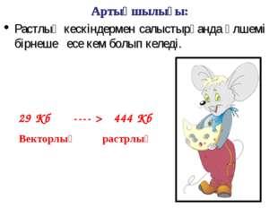 Артықшылығы: Растлық кескіндермен салыстырғанда өлшемі бірнеше есе кем болып